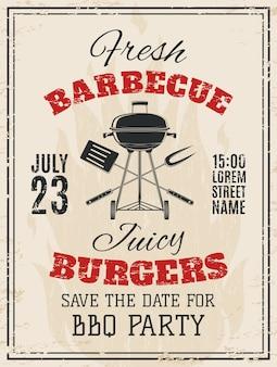 Invitación de fiesta de barbacoa vintage. plantilla de volante de comida bbq. ilustración.