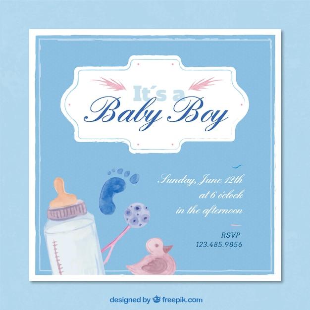 Invitación a fiesta del bebé en acuarela