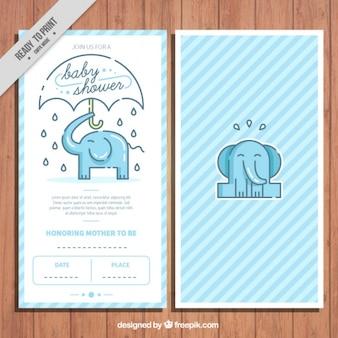 Invitación de fiesta del bebé con un elefante lindo