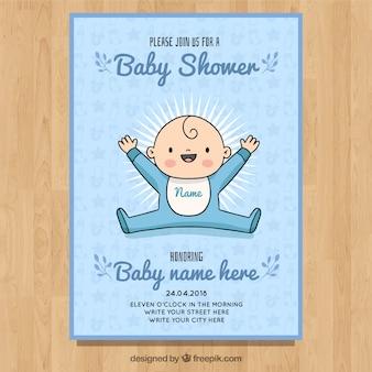 Invitación de fiesta de bebé en estilo hecho a mano