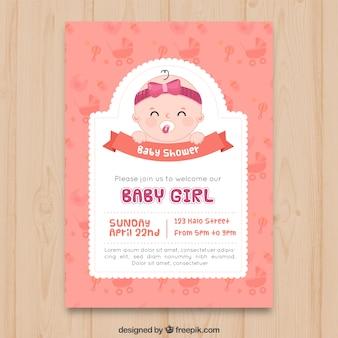Invitación de fiesta del bebé en estilo hecho a mano