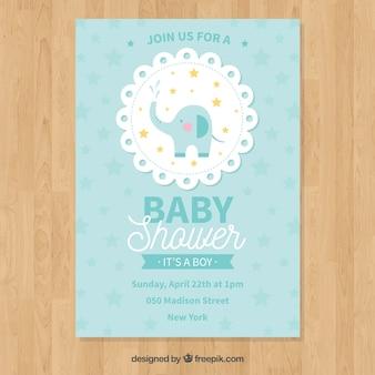 Invitación de fiesta del bebé en estilo plano