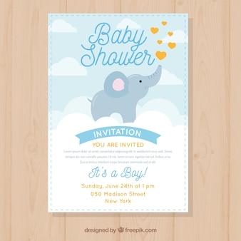 Invitación de fiesta de bebé con lindo elefante