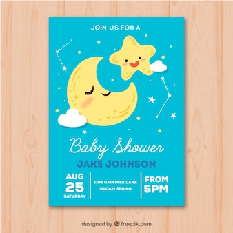 Invitación de fiesta del bebé con luna y estrellas en estilo hecho a mano