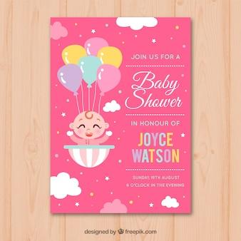 Invitación de fiesta del bebé con niña en estilo hecho a mano