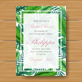 Invitación de la fiesta de bienvenida al bebé con hojas tropicales