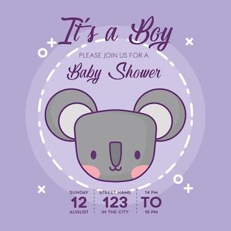 Invitación de fiesta de bienvenida al bebé con el icono de koala