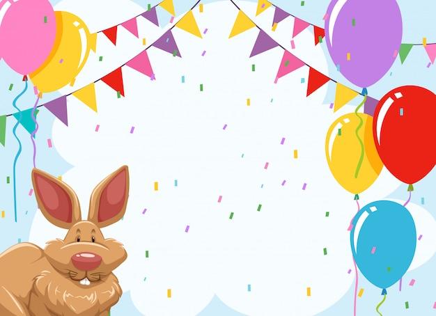 Invitación de fiesta de conejo con copyspace