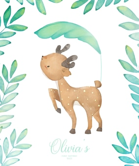 Invitación fiesta de cumpleaños de ciervo bebé ilustración acuarela