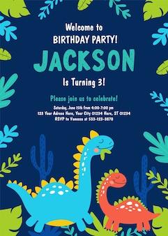 Invitación fiesta de cumpleaños de dinosaurio.