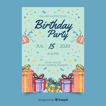 Invitación a fiesta de cumpleaños con fecha y hora