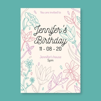 Invitación de fiesta de cumpleaños floral