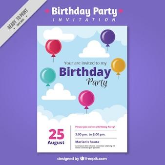Invitación para fiesta de cumpleaños con globos de colores
