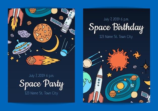 Invitación para fiesta de cumpleaños con ilustración de elementos de espacio dibujado a mano