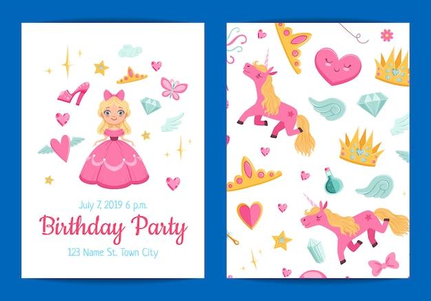 Invitación de fiesta de cumpleaños de magia y cuento de hadas
