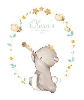 Invitación fiesta de cumpleaños de oso bebé ilustración acuarela