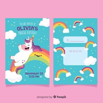 Invitación de fiesta de cumpleaños con un unicornio