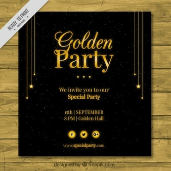 Invitación para fiesta dorada
