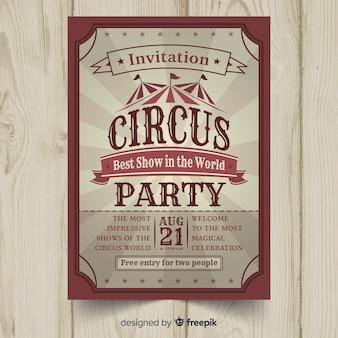 Invitación de fiesta de estilo circo vintage