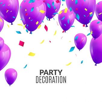 Invitación de fiesta de feliz cumpleaños con globos de colores y confeti