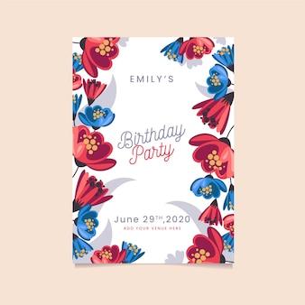 Invitación de fiesta floral feliz cumpleaños