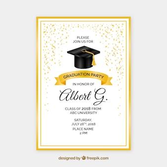Invitación de fiesta de graduación creativa dorada