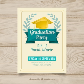 Invitación de fiesta de graduación dibujada a mano