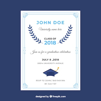 Invitación fiesta de graduación diseño plano