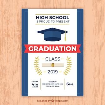Invitación de fiesta de graduación moderna blanco y azul