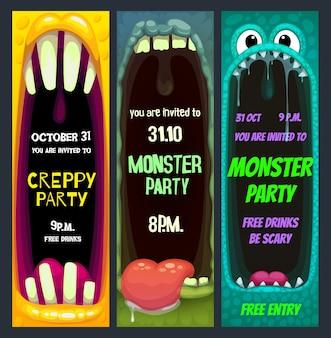 Invitación de fiesta de halloween con boca abierta de monstruo