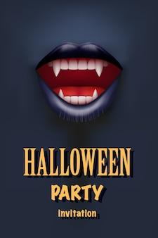 Invitación de fiesta de halloween con boca de vampiro, labios rojos abiertos y dientes largos. tema oscuro. .