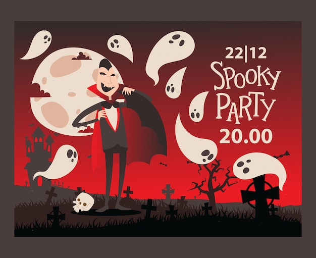 Invitación de fiesta de halloween estilo vampiro