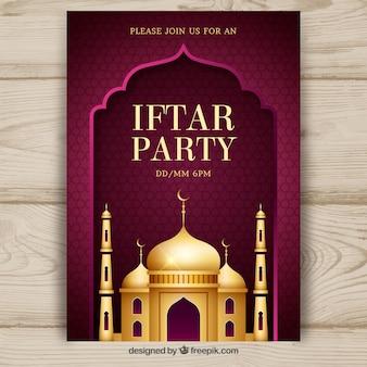 Invitación de fiesta iftar con mezquita dorada