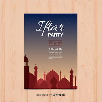 Invitación fiesta iftar plana puesta de sol