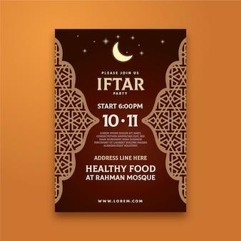 Invitación de fiesta iftar tradicional diseño plano