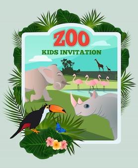 Invitación para fiesta infantil. vector la plantilla del cartel con los animales divertidos salvajes y el lugar para su texto. z