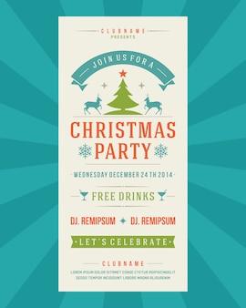 Invitación de fiesta de navidad invitación vintage tipografía y elementos de decoración ilustración.