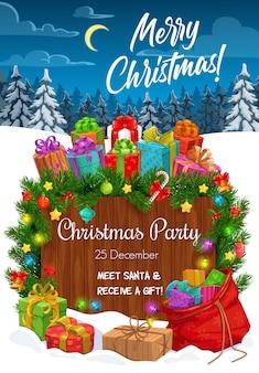 Invitación de la fiesta navideña con regalos de navidad, nieve y ramas de pino. presenta cajas, bolsa de santa y campanas, bayas de acebo, estrellas y bolas, lazos de cinta, luces y letrero de madera