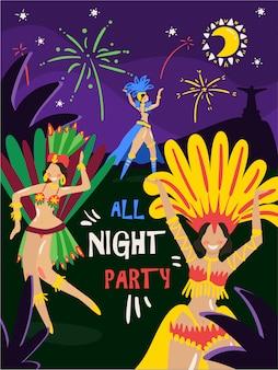 Invitación de fiesta de noche de celebración anual de carnaval de brasil con mujeres bailando en coloridos trajes de plumas de bikini ilustración vectorial