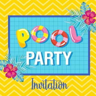 Invitación de fiesta en la piscina horario de verano