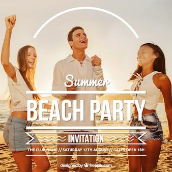 Invitación de fiesta en la playa
