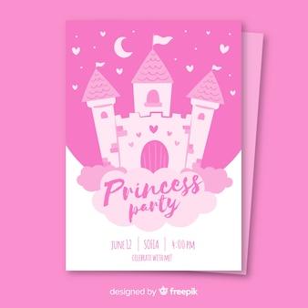 Invitación fiesta de princesas dibujada a mano