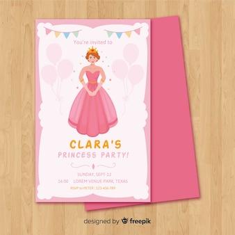 Invitación fiesta de princesas plana