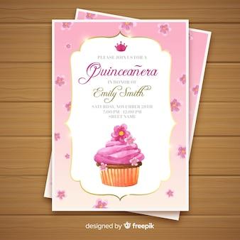Invitación a fiesta de quinceañera con un cupcake