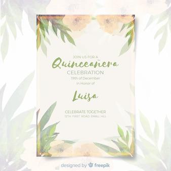 Invitación a fiesta de quinceañera con hojas