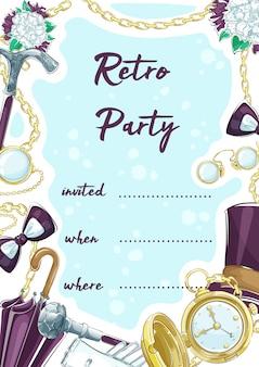 Invitación a una fiesta retro con elementos de accesorios vintage caballero.