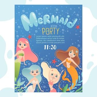 Invitación de fiesta de sirena. la plantilla de diseño invita a los niños a las tarjetas de cumpleaños con divertidos personajes bajo el agua, peces y la joven princesa sirena