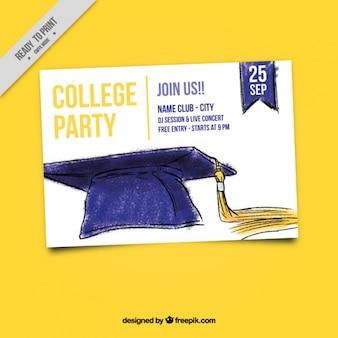 Invitación de fiesta universitaria con birrete pintado a mano