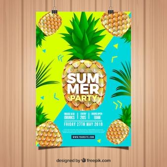 Invitación de fiesta de verano con piñas en estilo realista
