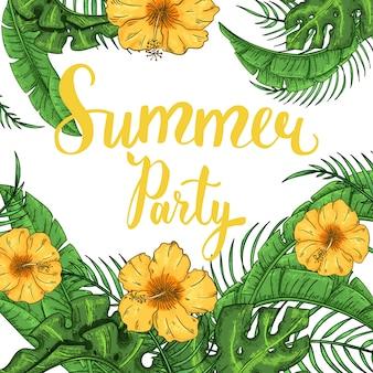 Invitación de fiesta de verano tropical con hojas de palmera y flores exóticas.
